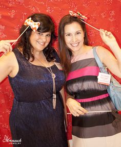 Fun photo booth pic of Melinda Tomasello / the Monarch Jewelry Blog & the Melinda Tomasello blog and Nicolette Springer / Working on a Project at Monarch Jewelry's Blog and Bling Event. The Monarch Jewelry showroom is located in Winter Park, Florida.