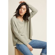 More Soften Than Not Waffle Knit Top in Muted Moss ($40) ❤ liked on Polyvore featuring tops, sweaters, apparel, knit top, long sleeve knit, varies, drop shoulder tops, v neck long sleeve top, long sleeve tops and v-neck tops