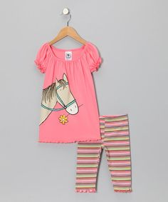 $20. Take a look at this Coral Horse Top & Capri Leggings - Infant, Toddler & Girls by Mulberribeach on #zulily today!