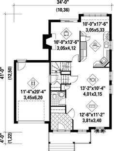 Narrow Lot Style House Plan 68864 with 3 Bed, 3 Bath, 1