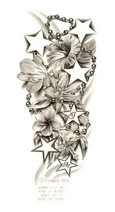 Half Sleeve Tattoo- smaller starts and use kids birth month flowers mine
