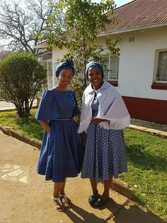 South African Shweshwe Fabric Dresses Pictures 2019 - fashionist now African Attire, African Wear, African Dress, African Print Fashion, African Fashion Dresses, African Prints, Ankara Styles For Men, Shweshwe Dresses, Dress Picture