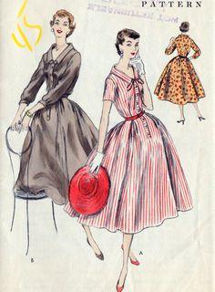1950s Full Skirt Dress Vintage Sewing Pattern