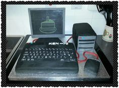 Computer cake. Fruitcake keyboard, vanilla sponge tower and mouse.