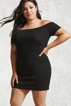 Plus Size Off-the-Shoulder Dress.Forever 21+ – A ribbed knit mini dress featuring an elasticized off-the-shoulder neckline, short sleeves, and a bodycon silhouette.. | dresslover.co.uk