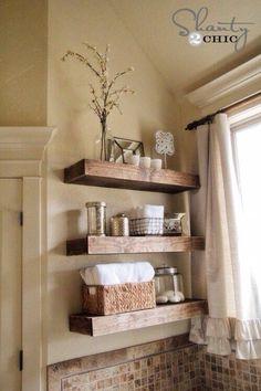 Design element: natural wood element, floating shelves, neutral tones
