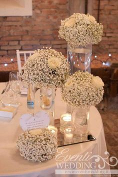 Floral Wedding Centerpieces Planning and Tips - Love It All Wedding Table Centerpieces, Wedding Flower Arrangements, Centerpiece Ideas, Centerpiece Flowers, Babies Breath Centerpiece, Silver Wedding Decorations, Flower Decoration, Garland Wedding, Table Arrangements