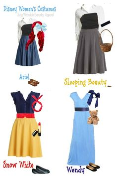 Pull together one of these five amazing Halloween Disney costumes using items you already have in your closet! halloween costumes Halloween Disney Costumes Using Items In Your Closet Costumes Disney Faciles, Disney Costumes For Women, Disney Princess Halloween Costumes, Disney Characters Costumes, Homemade Disney Costumes, Easy Character Costumes, Disney Cosplay, Costume Princesse Disney, Adult Princess Costume