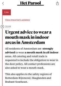 Mouth Mask, Amsterdam, September, Advice, News
