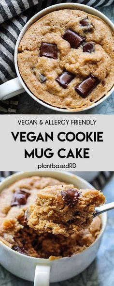 Vegan Cookie Mug Cake (vegan, dairy free, & egg free) - Plant Based RD Gluten Free Mug Cake, Vegan Mug Cakes, Mug Cake Healthy, Cake Vegan, Healthy Vegan Desserts, Vegan Dessert Recipes, Vegan Treats, Vegan Foods, Vegan Chocolate Cakes