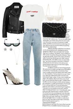 """Dress Up A T-Shirt"" by masekennb ❤ liked on Polyvore featuring Balenciaga, MIANSAI, PAWAKA, Chanel, Gucci, Acne Studios, La Perla, Yves Saint Laurent, RE/DONE and MyFaveTshirt"