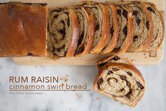 Rum Raisin Cinnamon Bread - The Little Epicurean My Favorite Food, Favorite Recipes, Different Types Of Bread, Cinnamon Swirl Bread, Make French Toast, Dessert Bread, Base Foods, How To Make Bread, Raisin