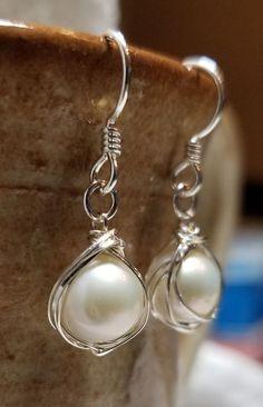 Handmade Earrings - Sterling Wire Wrap Pearls #MartinMadeBeadThings #DropDangle