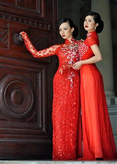 The one on the left is what I'm thinking for my wedding Ao Dai...