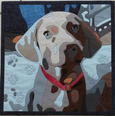 "Until Proven Guilty"" wall hanging by Pauline Salzman - entry in the 2016 Quilting Alliance Playing with Favorites contest Dog Quilts, Animal Quilts, Landscape Quilts, Ribbon Art, Nature Prints, Treasure Island, Labradoodle, Quilt Making, Pet Portraits"