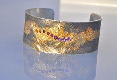 Waylon Rhoads Fusion Concepts 18kt Gold and Oxidized Silver Rainbow of Gemstones Cuff