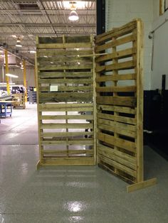 Pallet wall constructed by Utley Brothers Printing