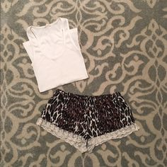 F21 // Leopard Print Sleep Shorts Brand new condition. Super cute leopard print with a cream lace ruffle trim 💕 These are a size small, but I think they got closer to an x small so I've sized them accordingly.  ✅Reasonable offers welcome (through offer button) ✅Bundle discounts on 2+ items ✅Measurements provided on request ✅If there's a PM shipping promo tag the item you're interested in and I will gladly set up a new listing so you can get discounted shipping ❌No trades please 😊 Forever…