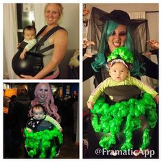 Babywearing Halloween costume: Witch with baby stew