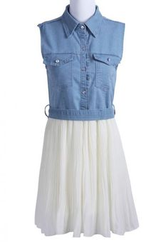Blue White Sleeveless Pockets Denim Chiffon Dress $23.87  #SheInside