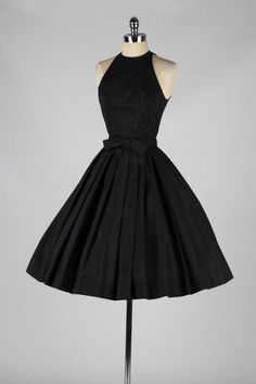 Black Halter Short Homecoming Dress Featuring Bow Accent Belt Featuring Open Back, Formal Dress - Formal dresses short - Vintage Dresses, Vintage Outfits, Vintage Fashion, 1950s Fashion Dresses, Dress Fashion, Fashion Outfits, Kleidung Design, Vintage Mode, Vintage Black