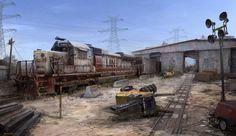 Train Yard Concept, MuYoung Kim on ArtStation at https://www.artstation.com/artwork/train-yard-concept