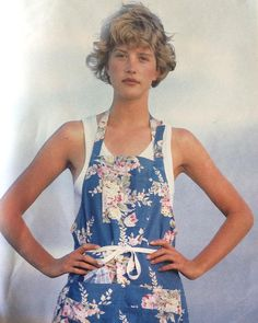 Sacha photograph for a #fashioneditorial #petitespiecesajouer in the July #1986 issue of Marie Claire #magazine.    Floral apron by #ralphlauren worn over a vest top from #lasamaritaine, where the handkerchief is also from. #hair by #jeanmarcmaniatis. The #model is #lisakauffmann   #Sacha #sachavandorssen #photography #fashion #fashionphotography #1980s #magazines #print #marieclaire #marieclairemagazine #marieclairefrance @ralphlauren @marieclairefr @lisakauffmann