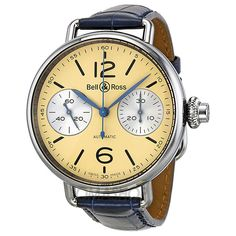 Bell and Ross Vintage Monopusher Chronograph Automatic Ivory Dial Mens Watch BRWW1-MONO-IV
