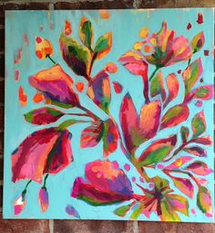 24x24 origianl acrylic painting abstract spring flowers