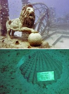 Underwater Cemetery - Miami, USA  The Neptune Memorial Reef also known as the Atlantis Memorial Reef or the Atlantis Reef is an underwater mausoleum for cremated remains and the world's largest man-made reef (covering over 600,000 square feet (56,000 m²) of ocean floor).