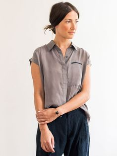 Cap Sleeves Cupro Shirt - Gray by 7115 for Of a Kind