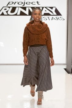 For this challenge, designers had to create comfortable winter wear for clients Brother Usa, Project Runway, Winter Wear, Harem Pants, Designers, Challenges, Embroidery, Sewing, Create