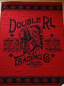 Ralph Lauren RRL 100 Wool Scotland Made Red Indian Chief Throw Blanket