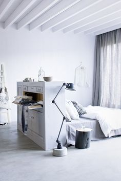 scandi whites and greys. Great bedhead/storage too.