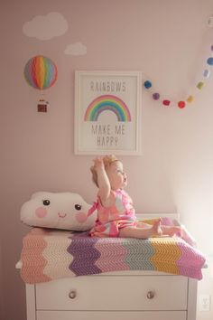 Rainbow Nursery Girls Baby Air Balloon Cloud