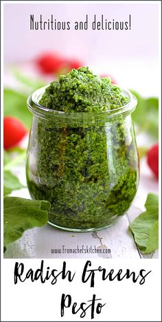 Radish Greens Pesto packs a peppery, nutritional punch! Be sure to save those radish tops for this easy to make, delicious pesto! Sauce Recipes, Gourmet Recipes, Cooking Recipes, Healthy Recipes, Free Recipes, Healthy Dishes, Cookbook Recipes, Healthy Eats, Easy Recipes
