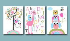 "For the twins bathroom: Childrens Art Kids Wall Art Baby Girl Room Decor Baby Girl Nursery kids room kids art print set of 3 8""x10""Prints owls giraffe alphabet rose. $42.00, via Etsy."