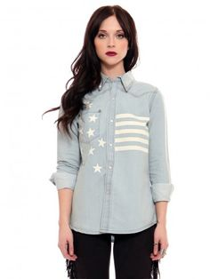 Light denim shirt featuring white bleached out flag pattern and silver tone studs