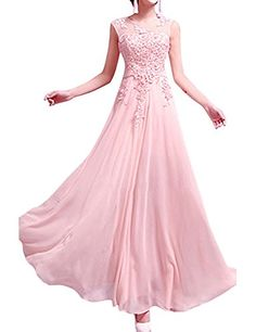 LETSQK Womens Lace Cap Sleeves Crew Neck Chiffon Belted Evening Prom Dresses Pink M ** Check this awesome product by going to the link at the image.