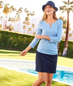 Fashion meets function in our specially treated UPF Side-Ruched Tee. 50 Fashion, Winter Fashion, Fashion Outfits, Upf Clothing, Summer Time, Spring Summer, Color Me Beautiful, Athleisure, Talbots