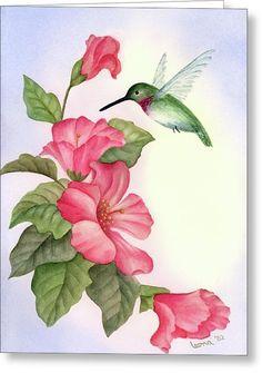 Hummingbird With Hibiscus Greeting Card by Leona Jones