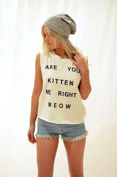 Are You Kitten Me White Tank Top #USTrendy www.ustrendy.com