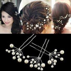 Women-Wedding-Bridal-Hair-Clip-White-Pearl-Bead-Hairpin-Jewellery-U-shaped