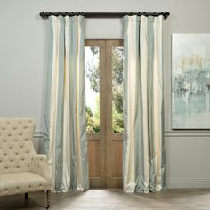The Faux Silk Taffeta Stripe drapes & curtains can be a bold or subtle statement to any room depending on your color choice. These curtains will add a classy and elegant look to your room.