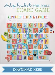 Enjoy this free, colorful twist on the classic, Snakes and Ladders. Can you make your way through the entire alphabet? #printable