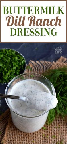 Feb 2020 - If you love a thick and flavourful salad dressing or dip, Buttermilk Dill Ranch Dressing is just the thing you need! Makes good use of your spice rack too! Buttermilk Ranch Dressing, Dill Dressing, Homemade Ranch Dressing, Salad Dressing Recipes, Salad Dressings, Healthy Ranch Dressing, Sauce Spaghetti, Dill Sauce, Recipes