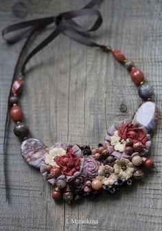 Купить Колье Осенняя Соната - рыжий, терракотовый, терракотовый цвет, осенние краски, Осенние цвета