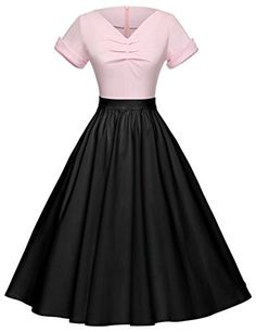 908e1d0c60e8 GownTown Women Splicing Swing Dress Party Picnic Cocktail... 50s Style  Clothing, Style