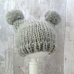 Light Grey Knit Baby Pom Pom Hat With Ears, Gray Baby Knit Hat, Chunky Knit Hat…
