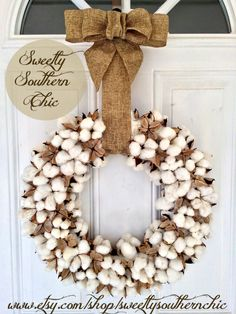 18 inch Real Cotton Wreath by SweetlySouthernChic on Etsy Seasonal Decor, Fall Decor, Holiday Decor, Diy Wreath, Burlap Wreath, Burlap Ribbon, Wreath Ideas, Fall Wreaths, Door Wreaths